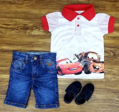 Bermuda Jeans Com Polo Carro