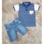Bermuda Jeans e Polo com Bolso