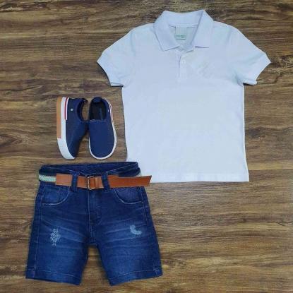 Bermuda Jeans com Polo Infantil