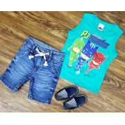 Bermuda Jeans com Regata PJ Masks
