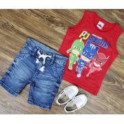 Bermuda Jeans com Regata PJ Masks Vermelha