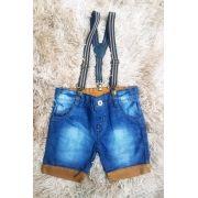Bermuda Jeans com Suspensório
