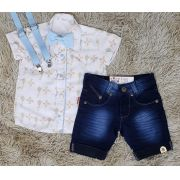 Bermuda Jeans com Suspensório e Camisa Brinquedos com Gravata