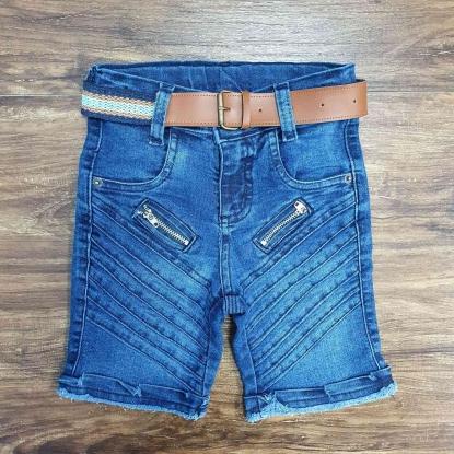 Bermuda Jeans com Zíper Infantil