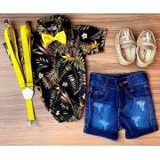 Bermuda Jeans Destroyer com Suspensório e Body Floral com Gravata