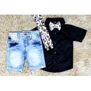 Bermuda Jeans e Camisa Social Preta com Suspensório e Gravata Patrulha Canina