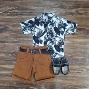 Bermuda Marrom com Camisa Floral Infantil