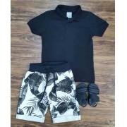 Bermuda Moletom com Camisa Polo Infantil