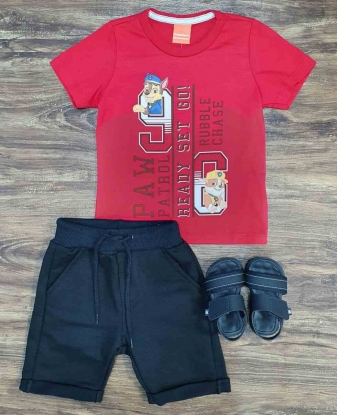 Bermuda Moletom com Camiseta Patrulha Canina Infantil