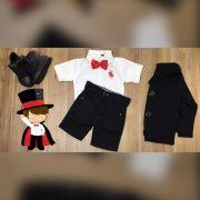 Bermuda Preta com Camisa Branca Gravata e Blazer Preto- Look Mágico
