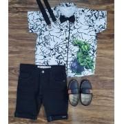 Bermuda Preta com Camisa Hulk Infantil