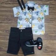 Bermuda Preta com Camisa Safari Cinza Infantil