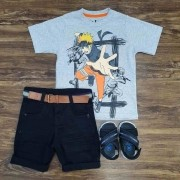 Bermuda Preta com Camiseta Naruto Infantil