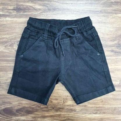 Bermuda Preta Jeans com Cordão Infantil