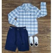 Bermuda Sarja com Camisa Manga Longa Infantil