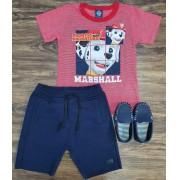 Bermuda Slim com Camiseta Patrulha Canina Infantil