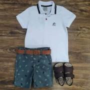 Bermuda Verde Musgo com Camisa Polo Branca Infantil