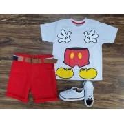 Bermuda Vermelha com Camiseta Mickey Infantil