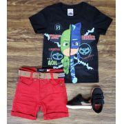 Bermuda Vermelha com Camiseta PJ Masks Preta