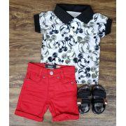 Bermuda Vermelha com Polo Mickey - Look Mickey