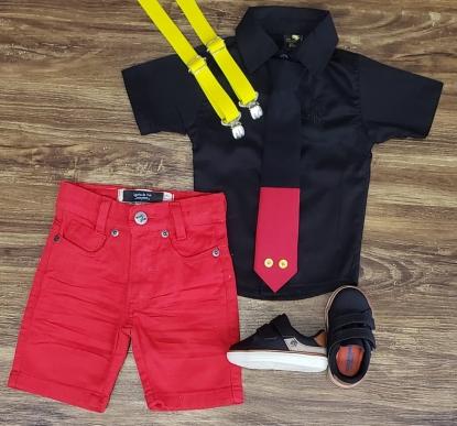 Conjunto Mickey Básico Preto com Suspensório Infantil