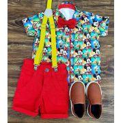 Conjunto Mickey Amigos Vermelho Infantil