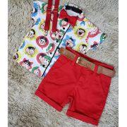 Bermuda Vermelha com Suspensório e Camisa Turma da Mônica com Gravata