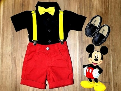 Conjunto Mickey Vermelho e Preto Infantil