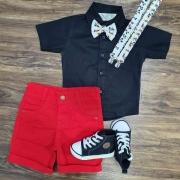 Bermuda Vermelha e Camisa Social com Suspensório e Gravata Mickey