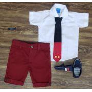 Bermuda Vinho com Camisa e Gravata - Look Mickey