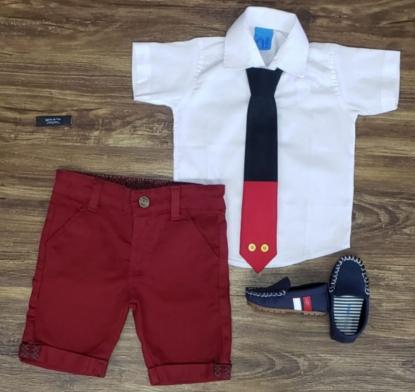 Conjunto Vinho Mickey Básico com Gravata Infantil