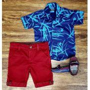 Bermuda Vinho com Camisa Social Azul