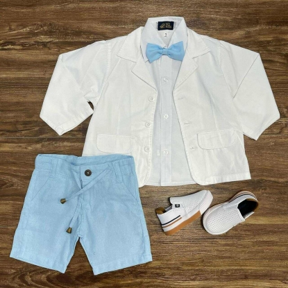 Blazer Branco com Camisa e Bermuda Azul Infantil - Roupa Batizado