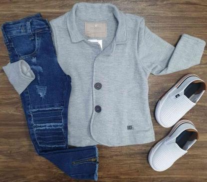 Blazer Cinza Com Calça Jeans Escura Infantil