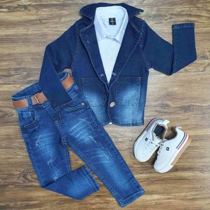 Blazer Jeans com Camisa e Calça Jeans Infantil