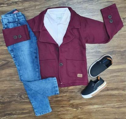 Blazer Vinho com Polo e Calça Jeans Infantil