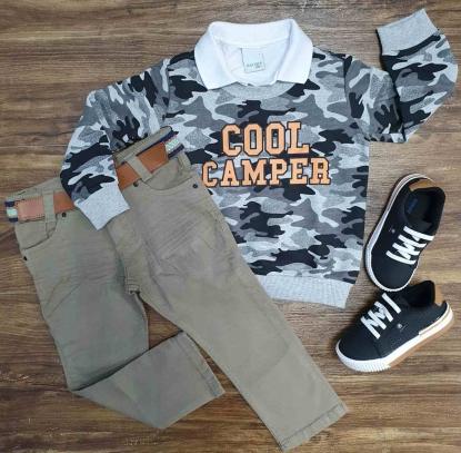 Blusa Camuflada Cinza Com Polo e Calça Jeans Infantil