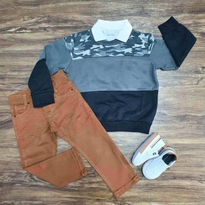 Blusa Cinza Camuflada com Polo Branca e Calça Jeans Infantil