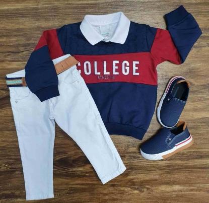 Blusa College com Polo Branca e Calça Jeans Infantil
