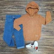 Blusa Com Capuz Mais Calça Jeans Infantil