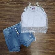 Blusa Love com Shorts Jeans Infantil