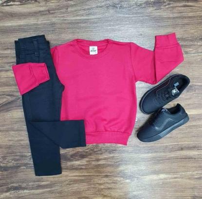 Blusa de Moletom Vermelha com Calça Jeans Preta Infantil