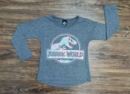 Blusa Jurassic World Cinza Infantil