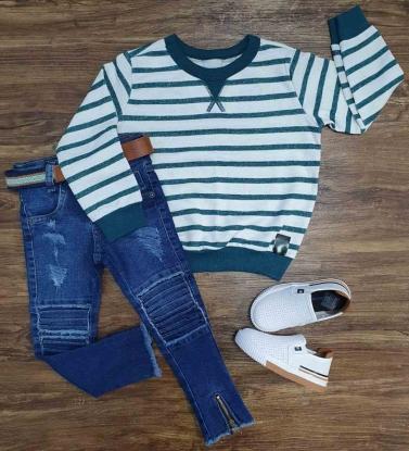 Suéter Listrado com Calça Jeans Infantil