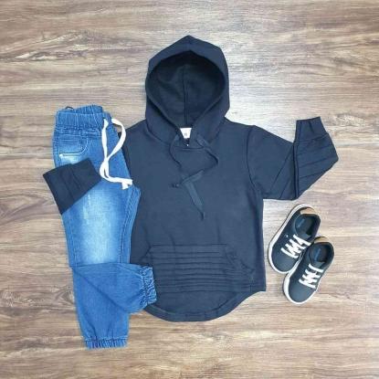 Blusa Preta Com Capuz e Calça Jeans Jogger Infantil