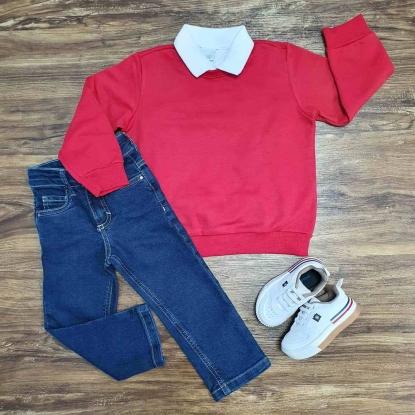 Blusa Vermelha com Polo Branca e Calça Jeans Infantil