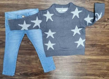 Blusão Estrelas com Calça Jeans Infantil