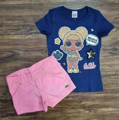 Blusinha Azul LOL com Shorts Rosa Infantil