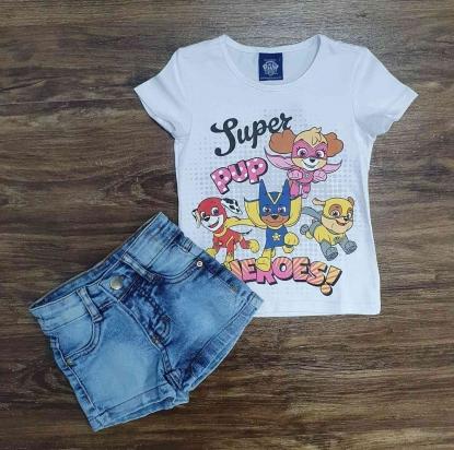 Blusinha Heroes Branca com Shorts Jeans Infantil