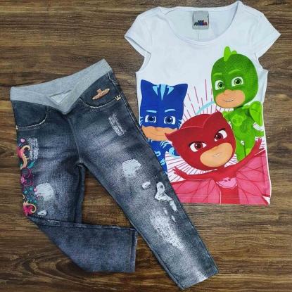 Blusinha PJ Masks com Calça Jeans Infantil